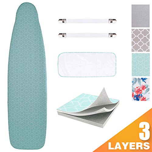 "Sunkloof Scorch Resistance Ironing Board Cover and Pad Resists Scorching and Staining Ironing Board Cover with Elasticized Edges and Pad 15""x54"""