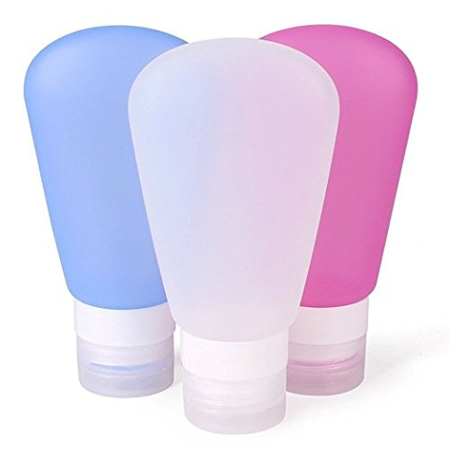 Silicone Travel Containers Showpin Mini 89ml Bottles Carry-on TSA Approved Leak Proof Refillable Reusable Lotion Tube Compatible for Shampoo/ Shower/Liquid detergent (Pink + White + Blue) (Mini Liquid Container)