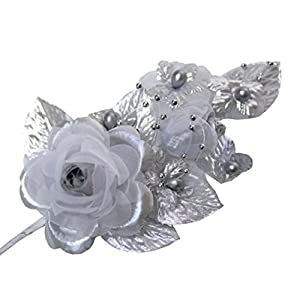 """3 Silver Silk Flowers Pearl & Organza Corsages 5""""x 2.5"""" with a Straight Pin 107"""