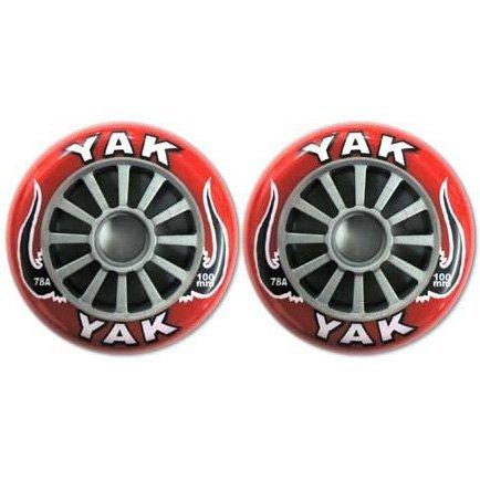 YAK キックボード用ウィール 100mm x 78a(Soft)前後Set (Red on Silver)