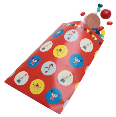 Party Partners Design Retro Big Top Circus Themed Favor Bags, Blue/Red, 12 Count -