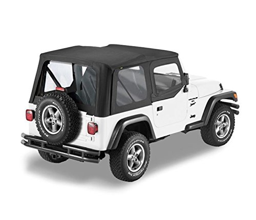 Bestop 79120-01 Black Sailcloth Replace-A-Top Soft Top with Clear Windows and Upper Half Door Skins for 1988-1995 Wrangler YJ