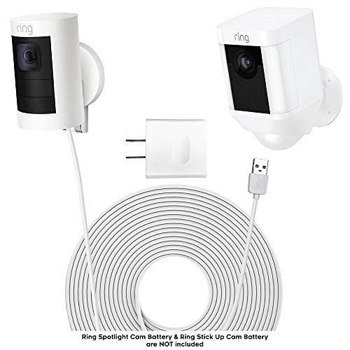 (Charging Cable for Spotlight Camera & Stick Up Cam (White) - Ring Spotlight Batteries HD Charger - Stick-Up Camera Power Cord - 5v 2A USB Cables for Ring - Ring Power Cord for Wall Charging by Sully )
