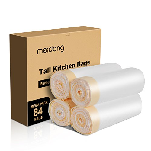 Meidong Trash Bags 13 Gallon Garbage Bags Tall Kitchen Large Unscented Drawstring Strong for Trash Can Garbage Bin(84 bags 61cm X 70cm 0.79min )