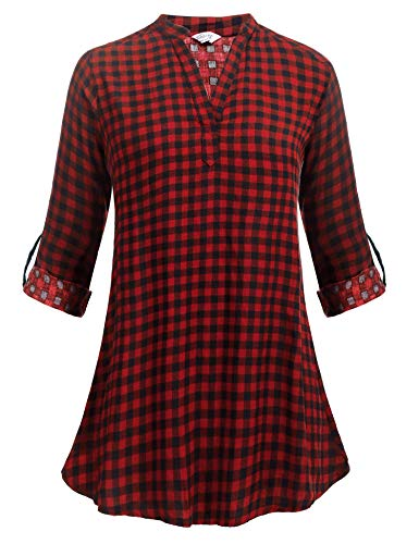 Zeagoo Women's Long Sleeve V-Neck Pullover Buffalo Plaid Shirts Top Blouse, Red/XXL