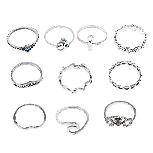 CosCosX Set of 10 Vintage Ring Set Bohemian Geometry Crown Rhinestone Joint Knuckle Nail Midi Ring for Women ()