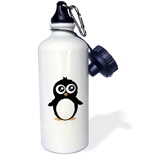 3dRose wb_113120_1 Cute Penguin-Black and White Cartoon-Sweet Kawaii Adorable Fuzzy Baby Arctic Animal on White Sports Water Bottle, 21 oz, White by 3dRose