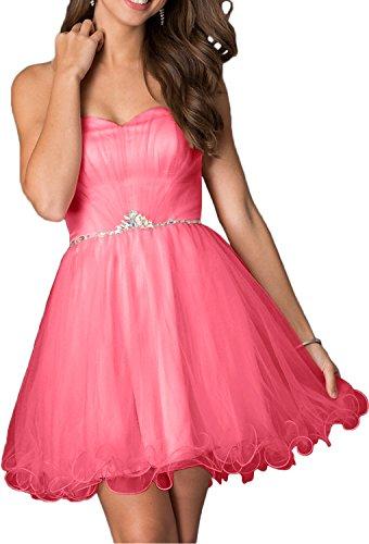 Ballkleider Damen Rosa Kleider Traegerlos Abendkleider Festliche Kurzes Herzausschnitt Charmant Wassermelon Damen Cocktailkleider TH4nqq