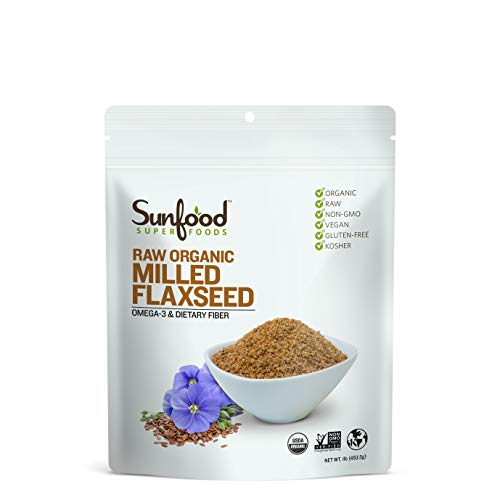 Sunfood Superfoods Milled Flaxseed. Organic, Raw, Gluten-Free. 1 lb Bag ()