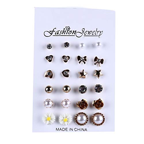 - YESMAEA 12 Pairs Multi Assorted Small Earrings Set Stars Moon Love Heart Flower Artificial Pearl Stud Earrings Sets