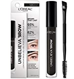 L'Oreal Paris Unbelieva-Brow Tinted Brow Makeup, Longwear, Waterproof Brow Gel, Sweat Resistant, Transfer Proof, Fills and Thickens Brows, Enhanced up to 48 Hours, Black, 0.15 fl. oz.