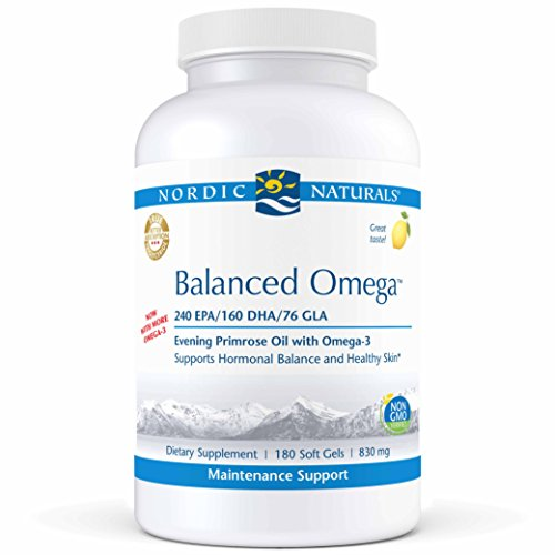 Nordic Naturals Pro Balanced Omega - Fish Oil and Evening Primrose Oil, 240 mg EPA, 160 mg DHA, 76 mg GLA, Supports Hormonal Balance and Healthy Skin*, 180 Soft Gels