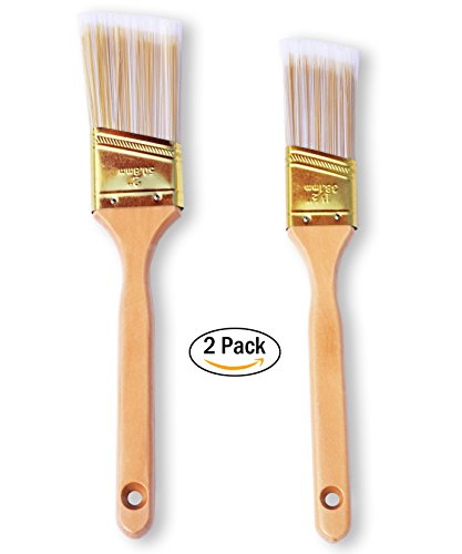 The Shop 1220 Large paint brushes-Set of 2 painting brush for acrylic, chalk and oil paints- great for wall, furniture and canvas, can be use by artist and painters, Tip is angled and fine. Washable (Varnish Wall Brush)