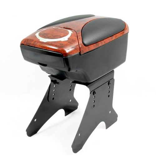 1 Set Black&Walnut Wood Leatherette Center Console Armrest Cup Holder Universal (Wood Center Console compare prices)