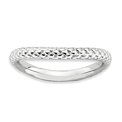 (Sterling Silver Stackable Expressions Polished Rhodium-plate Wave)