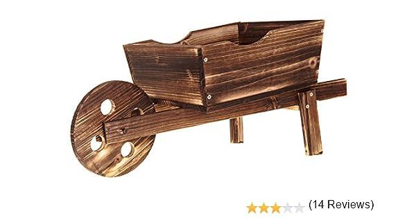 Livivo® - Maceta carretilla de madera tradicional para jardín con acabado de abeto rústico y rueda delantera, el toque decorativo perfecto en cualquier jardín, arreglo floral, terraza, patio o balcón, luce genial