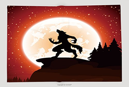 Supersoft Fleece Throw Blanket Halloween Night And Werewolf On Moon Background Illustration 316175642 (Pirate Halloween Sayings)