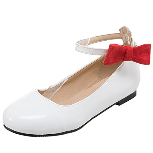COOLCEPT Mujer Dulce Punta Redonda Marry Jeans Plano Cout Correa de Tobillo Bombas Zapatos Blanco
