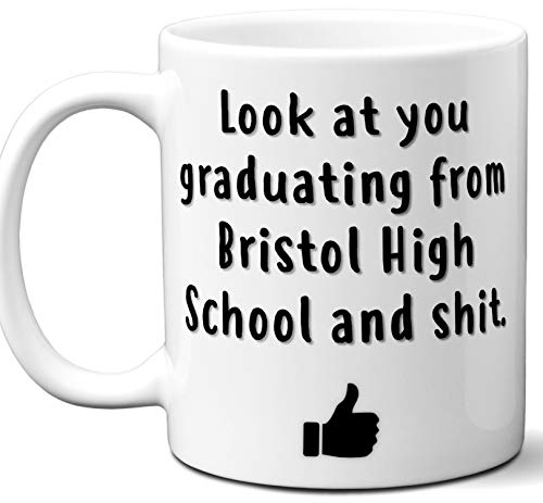 Bristol High School Graduation Gift. Cocoa, Coffee Mug Cup. Student High School Grad Idea Teen Graduates Boys Girls Him Her Class. Funny Congratulations. 11 oz.