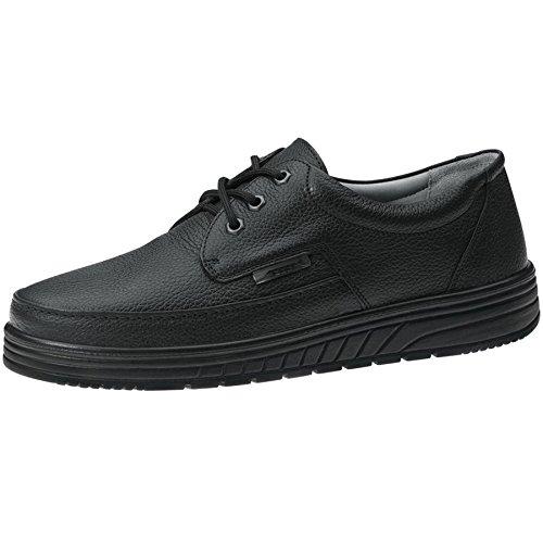 Abeba - Zapatillas para deportes de interior de cuero para hombre negro negro negro negro Talla:46