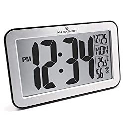 Marathon CL030033SV Commercial Grade Panoramic Atomic Wall Clock with Table Stand - Batteries Included (Brushed Silver)