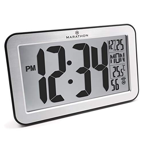 Marathon CL030033-SV Commercial Grade Panoramic Atomic Wall Clock with Table Stand - Batteries Included, Color-Brushed Silver.