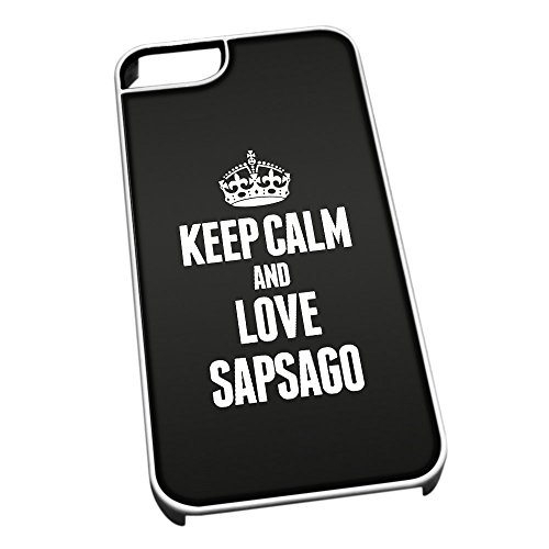 Bianco cover per iPhone 5/5S 1496 nero Keep Calm and Love Sapsago