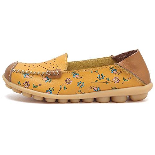 Cior Mocassins En Cuir Véritable Mocassins Occasionnels Chaussures De Conduite Intérieur Pantoufles Plates Slip-on 5. Jaune