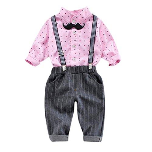 Little Boy Autumn Sets,Jchen(TM) 3Pcs Infant Toddler Baby Little Boys Dot Print Long Sleeve Shirt+Pants+Belt Gentleman Outfits for 0-3 T (Age: 12-18 Months, Pink) by Jchen Baby Sets (Image #1)