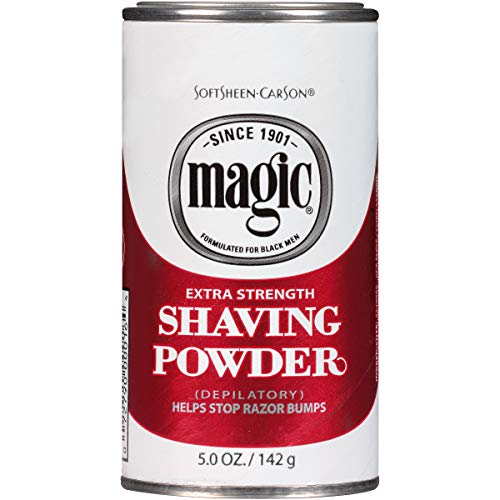 - Razorless Shaving for Men by SoftSheen-Carson Magic Extra Strength Shaving Powder, For Coarse Textured Beards, Formulated for Black Men, Depilatory, Helps Stop Razor Bumps, Since 1901, 5 oz