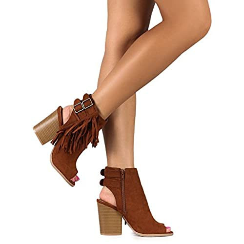 f6a1f36c682 hot sale Qupid DG37 Women Suede Peep Toe Verical Fringe Buckle Cut Out  Block Heel Bootie