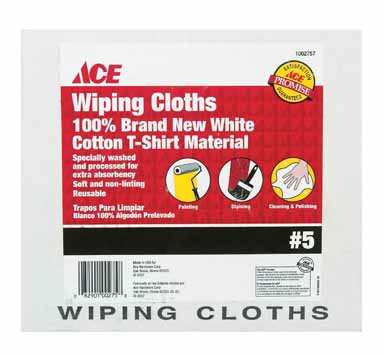 Boxed White Rag (Ace Wiping Cloths 100% Cotton Boxed # 5 Box White)