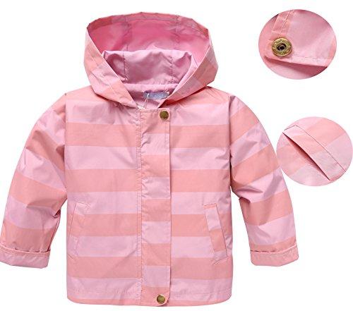 Goodfans Baby Girls Waterproof Hooded Lightweight Jacket Outwear Raincoat (Pink, 130)