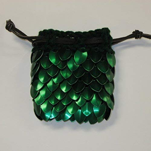Scalemail Dice Bag in knitted Dragonhide Armor- Elven Ranger