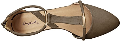 Qupid Womens Swift-133 Spiss Tå Flat Khaki