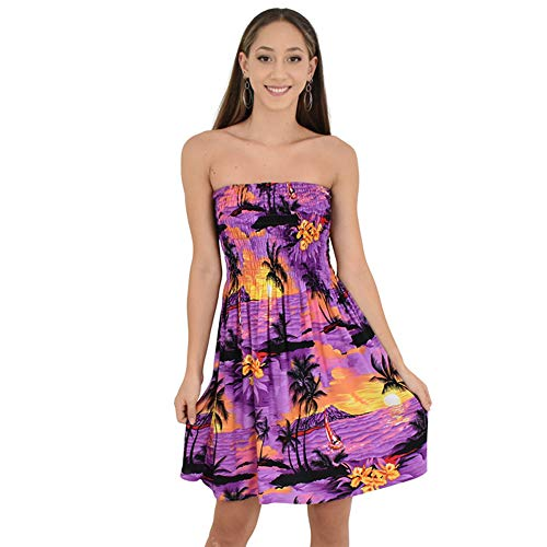 (ISLAND STYLE CLOTHING Ladies Tube Dress (Purple SS))