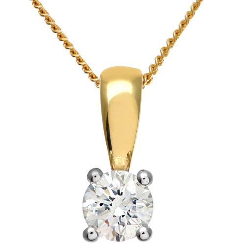 Revoni Bague en or jaune 18carats Solitaire-Collier Femme-Pendentif diamant, diamant H/SI