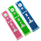 BIRUGEAR 3 Colors Two Tone Silicone Skin Case (Blue 2 Tone / Green 2 Tone / Pink 2 Tone) for Nintendo Wii Remote Controller Motion