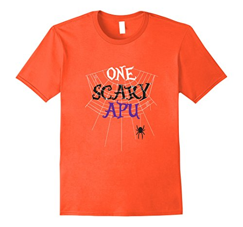 Mens One Scary Apu Halloween Costume Shirt, Funny Gift Medium Orange (Apu Halloween Costume)