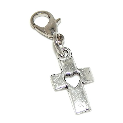 "Pro Jewelry Dangling ""Cross w/ a Heart"" Clip on Bead for Charm Bracelet 42755"