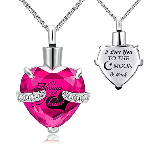 YOUFENG Urn Necklaces for Ashes Always in My Heart Heart Cremation Jewelry Memorial Pendant Birthstone Necklace (July URN) ()