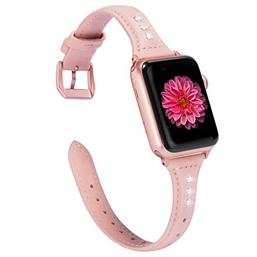 Wearlizer Pink Slim Leather Compatible with Apple Watch Band 38mm 40mm Womens iWatch Rhinestone Strap Beauty Wristband Replacement Sports Cool Bracelet with Rose Gold Clasp Series 4 3 2 1 ()