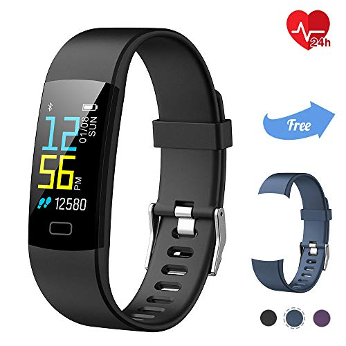 TwobeFit Fitness Tracker, Activity Tracker Waterproof Color Screen with Heart Rate Sleep Monitor Fitness Watch Pedometer Step Counter Smart Watch Bracelet Wristband for Kids Women Men (Gray Black)