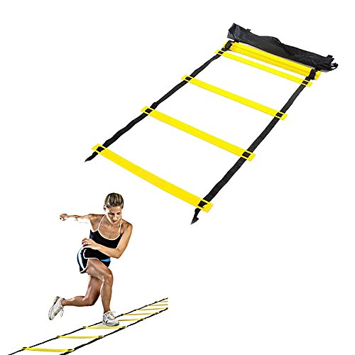 Enshey Agility Ladder Training Ladder Speed Training Ladder (12 feet 8 rung) Workouts Power Equipment for Soccer Football Tennis Crossfit with Carry Bag by Enshey