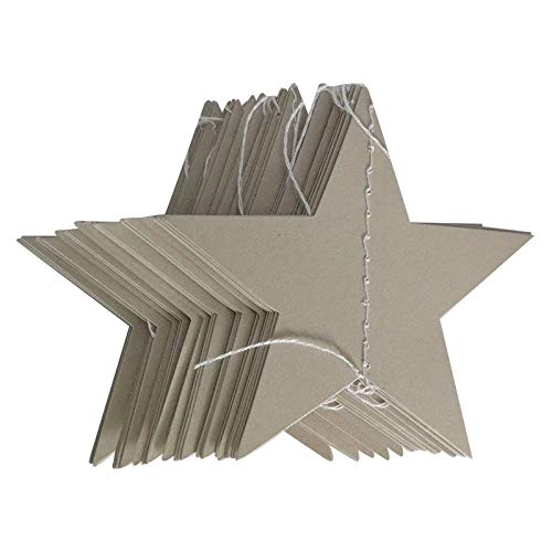 (Hanging Decorations - 4m bright gold silver paper garland star string banners wedding banner for home wall hanging decoration baby shower)