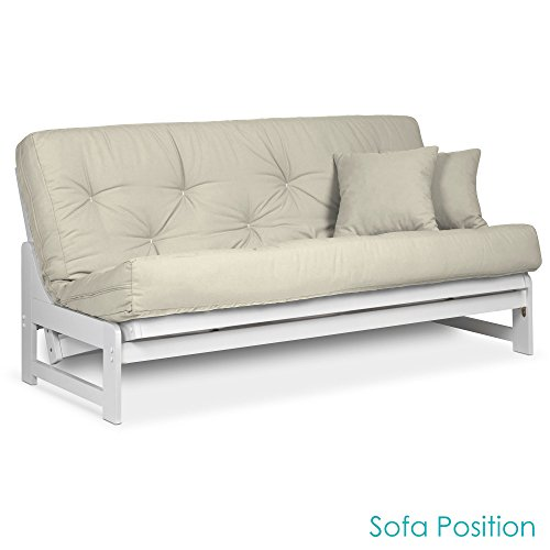 Arden White Futon Set Full or Queen Size - Armless Wood Futon Frame with Mattress Included (Twill Ivory), More Mattress Colors Available, Space Saving Modern Sofa Bed ()