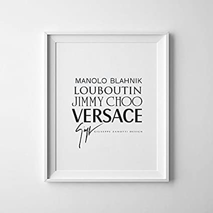 e19d16fe4a9 Image Unavailable. Image not available for. Color  Black and White Shoe  Designers Print – Versace Louboutin Jimmy Choo Manolo Blahnik
