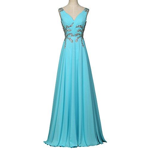 Sexy Evening Dormencir V Women's Dresses Prom A Chiffon Crystal Neck Blue Line Backless Long 5PPSwxgq
