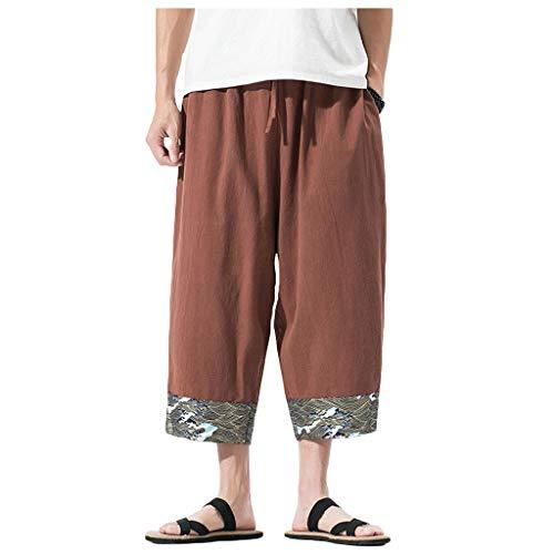 VEZAD Summer Men Casual Harem Pants Jogger Fitness Linen Loose Trousers
