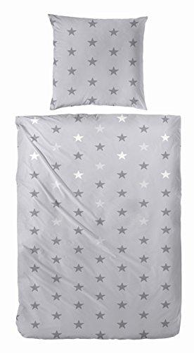 Aminata hochwertige Tenager-Bettwäsche 135x200 cm Fein-Biber Sterne grau anthrazit weiss Edel-Flanell Stern-Bettwäsche